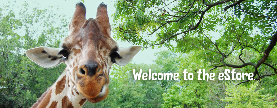 Image of a Giraffe in a forest with the text Welcome to the eStore placed next to the giraffe's head